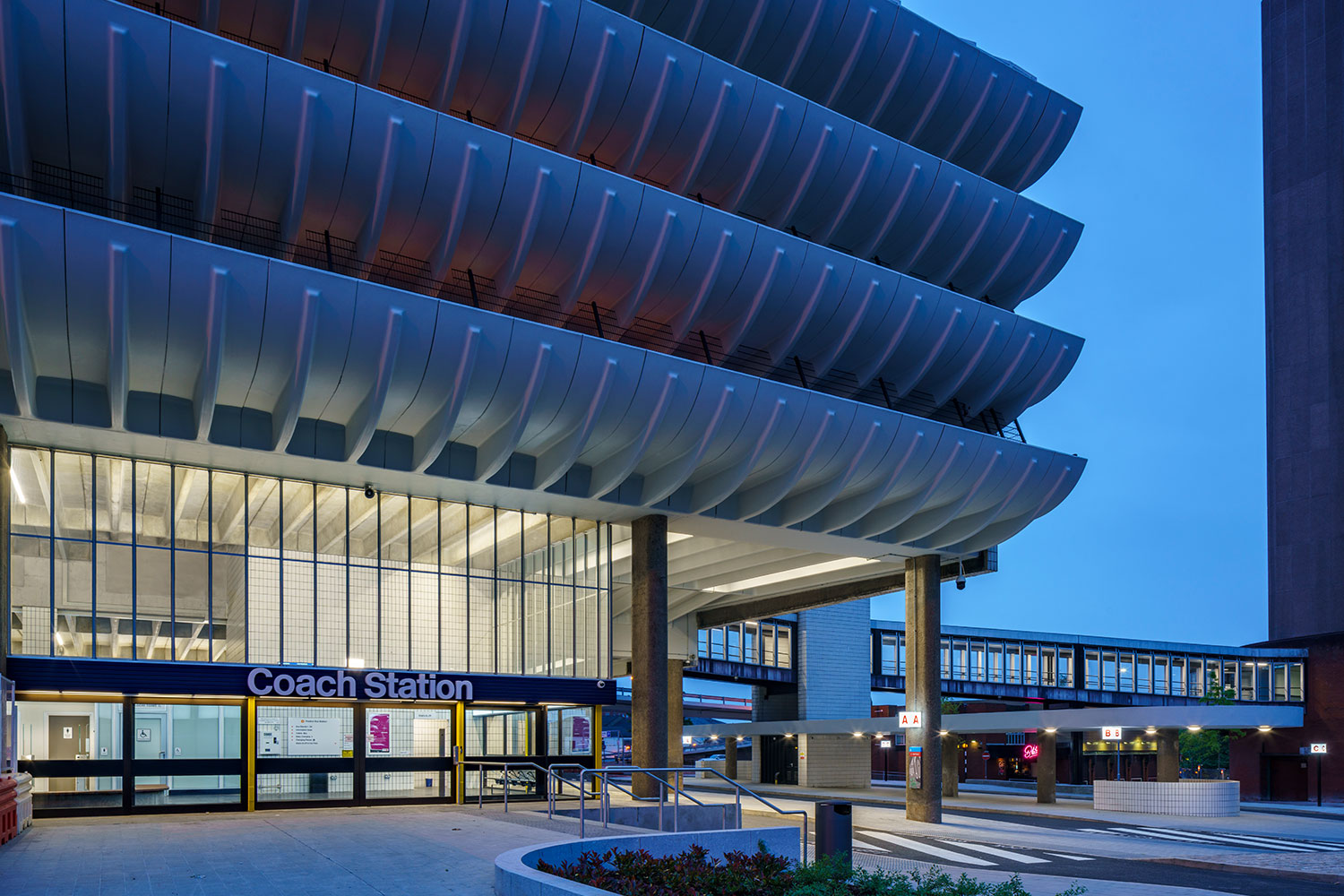 External view of Preston Bus Station in the evening