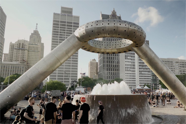 Horace E. Dodge and Son Memorial Fountain in Hart Plaza. Detroit, Michigan.
