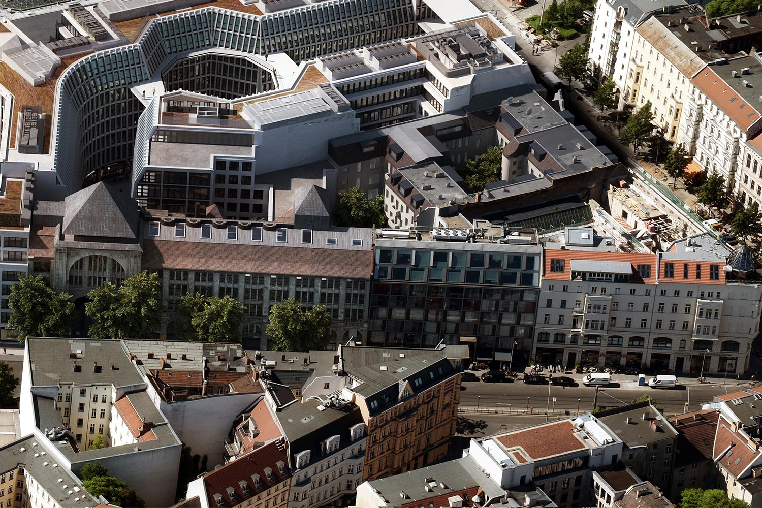 Aerial view of the AM TACHELES mixed-use development in Berlin