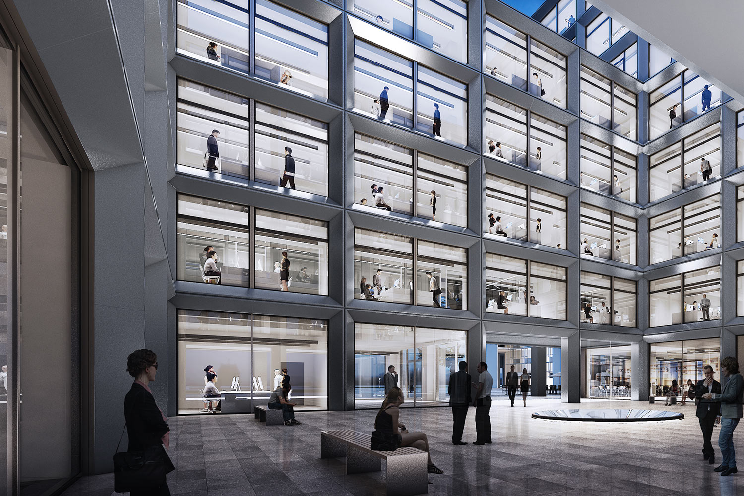 Interior view of people occupying a vast open courtyard within Enso's new headquarters