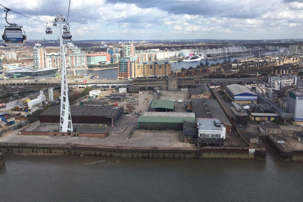 Aerial view of Thameside redevelopment area