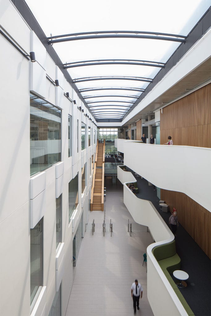 view from within the Quadram Institute's light filled atrium