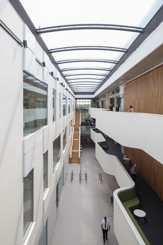 view from within the Quadram Institute's light filled atrium
