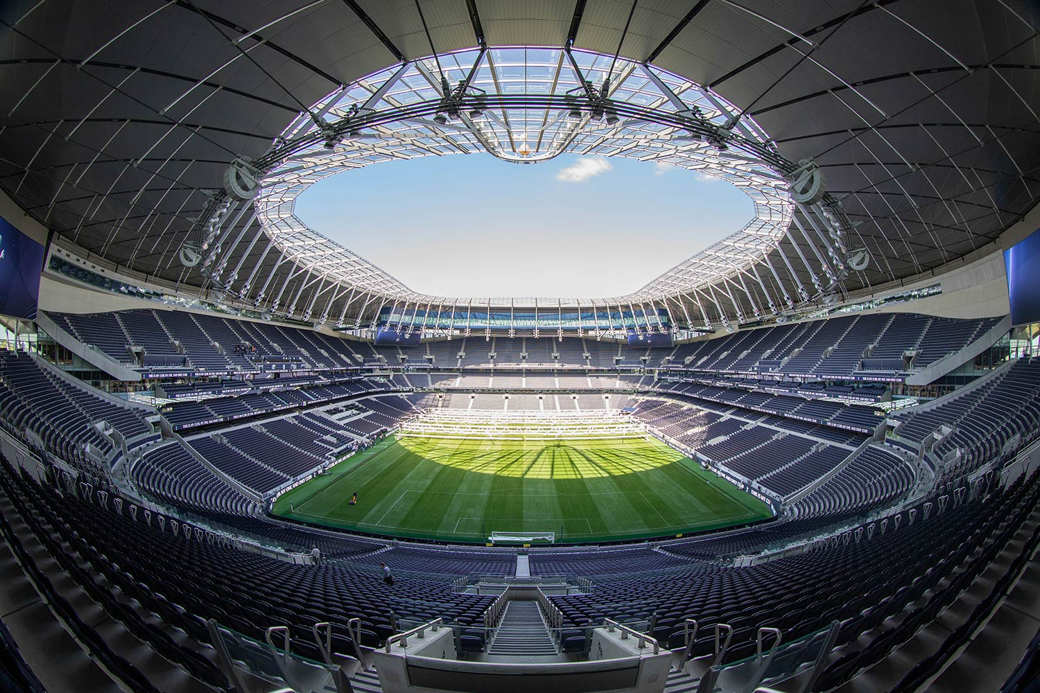 View of Tottenham Hotspur Football Club's innovative pitch from the stadium stands