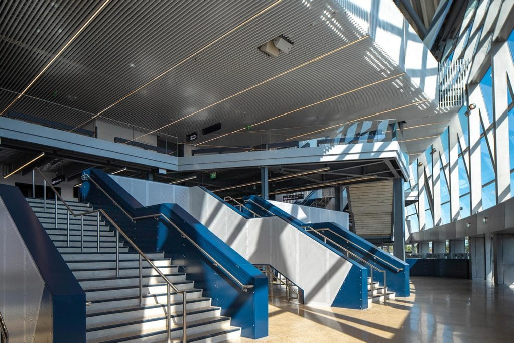 View of internal staircase leading to stands at Tottenham Hotspur Football Club's new stadium