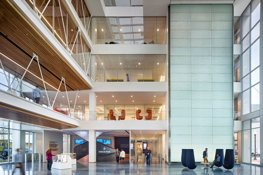 Light-filled atrium inside the new American Water Headquarters
