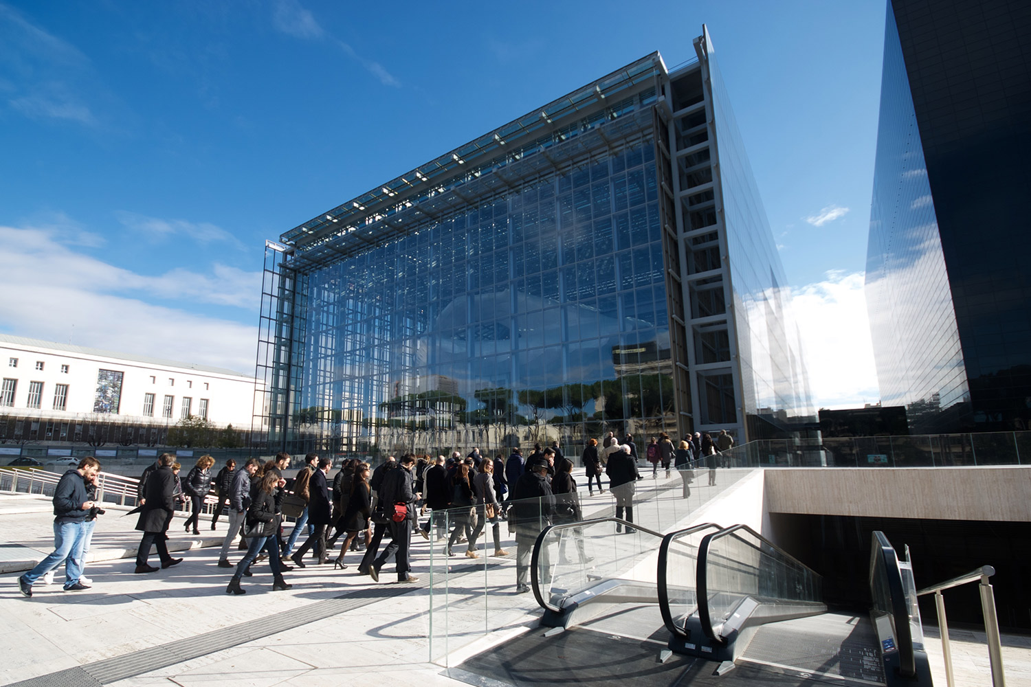Crowds assembling outside of Rome's new convention centre