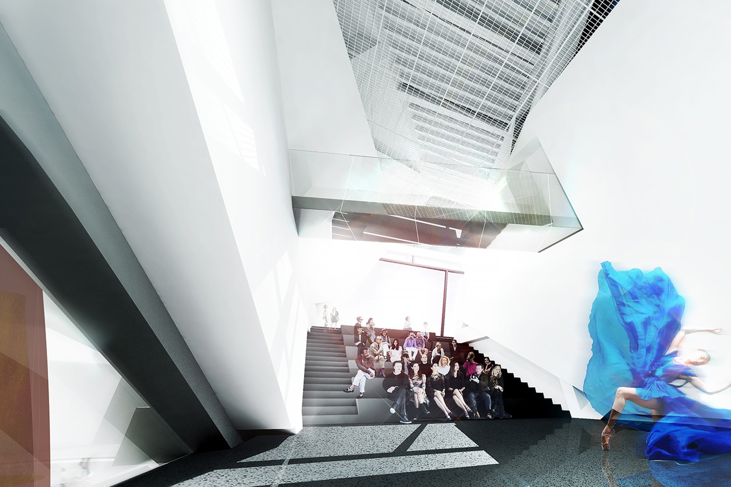 A dancer performing for a seated audience within OCMA's new building