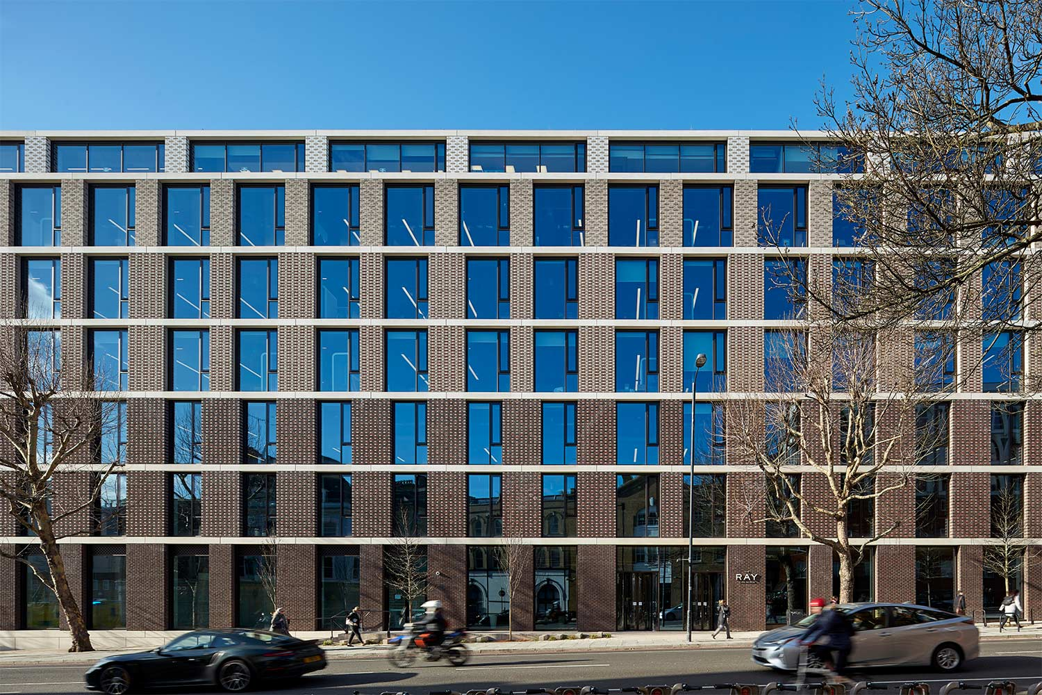 External view of The Ray office building on Farringdon Road, London EC1