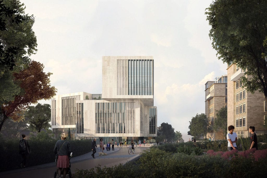 Rendering of University of Bristol Library from exterior