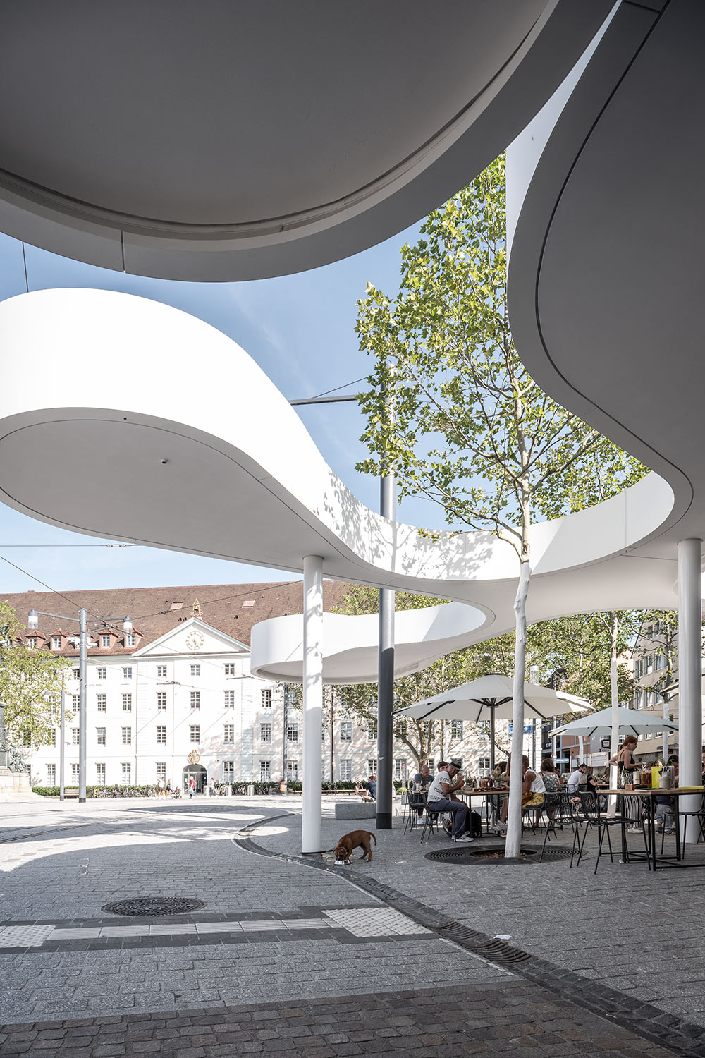 View from beneath Pavillon Am Ring's curved roof
