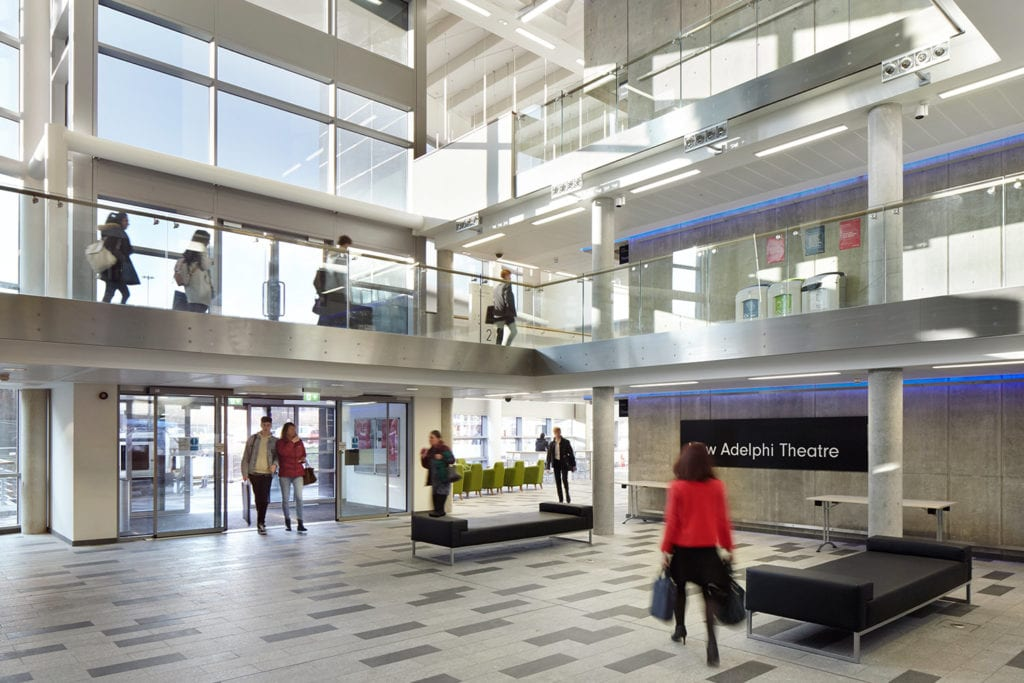 Light filled atrium of the University of Salford's new Adelphi Building