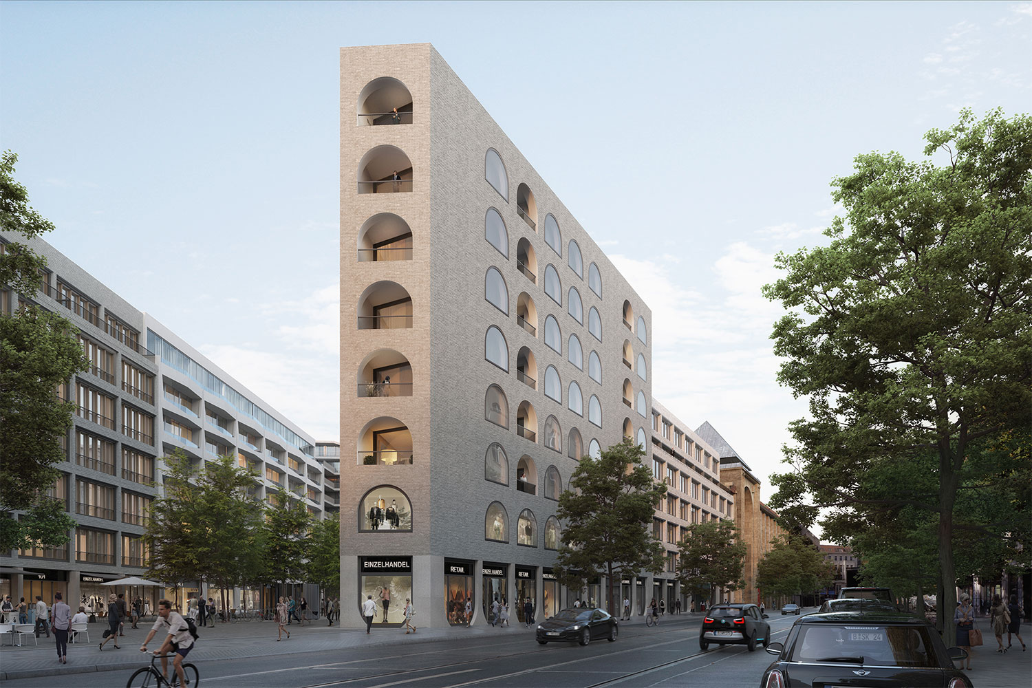 Street view of corner building in new Am Tacheles