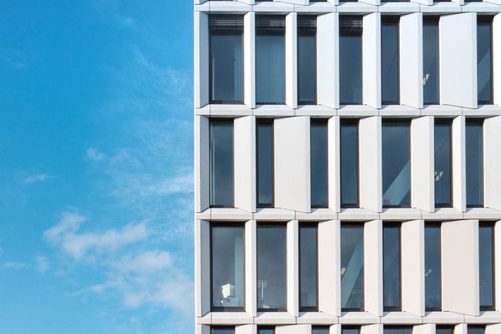 View of HumboldtHafenEins facade against blue skies