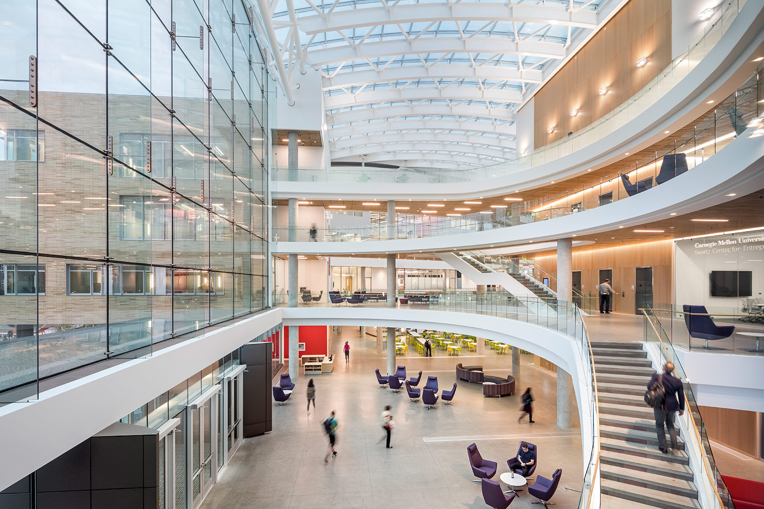 Spacious atrium of Tepper School of Business
