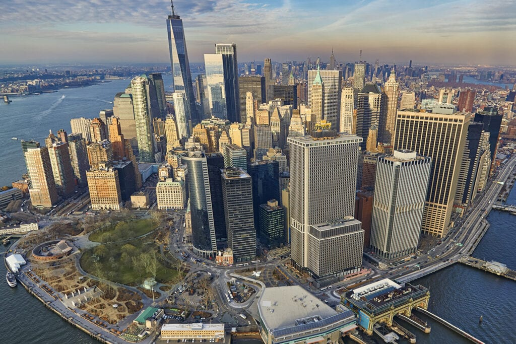 Aerial view of Battery Park in New York City looking at green space and skyscapers