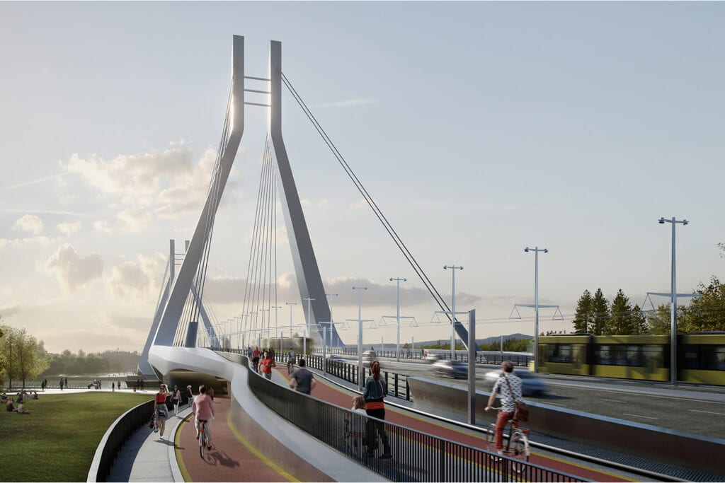 A busy scene of cyclists, pedestrians and cars traversing New Danube Bridge