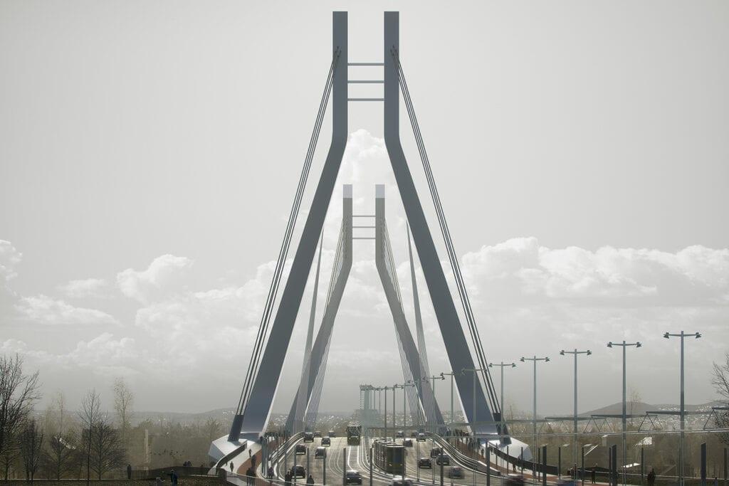 Eye level view crossing the New Danube Bridge