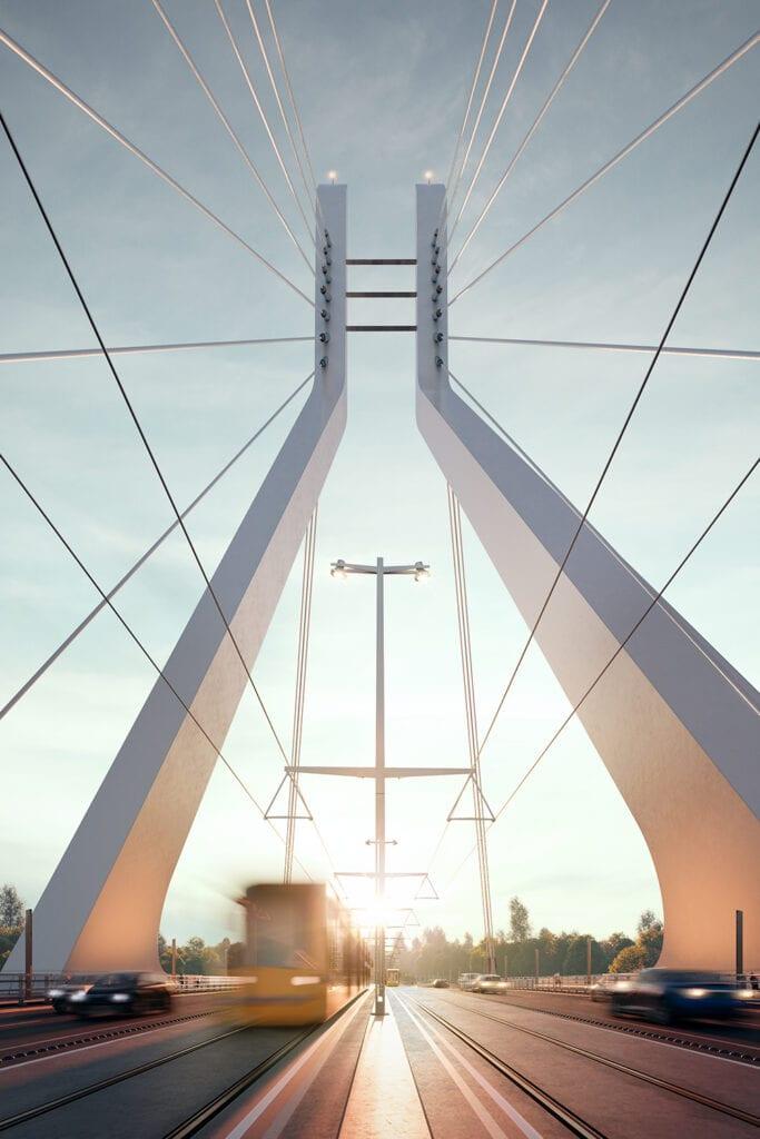 Eye level view of crossing the New Danube Bridge