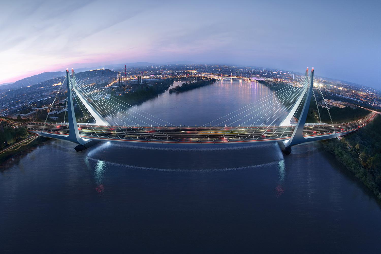 The evening draws in over New Danube Bridge