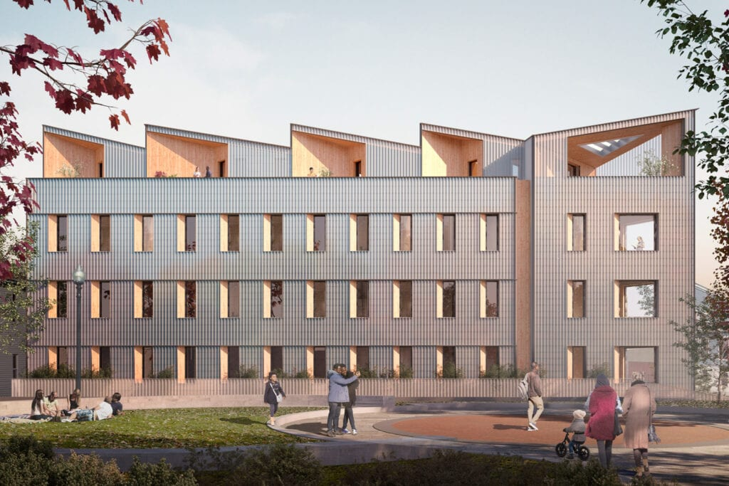 exterior rendering of timber building in Boston