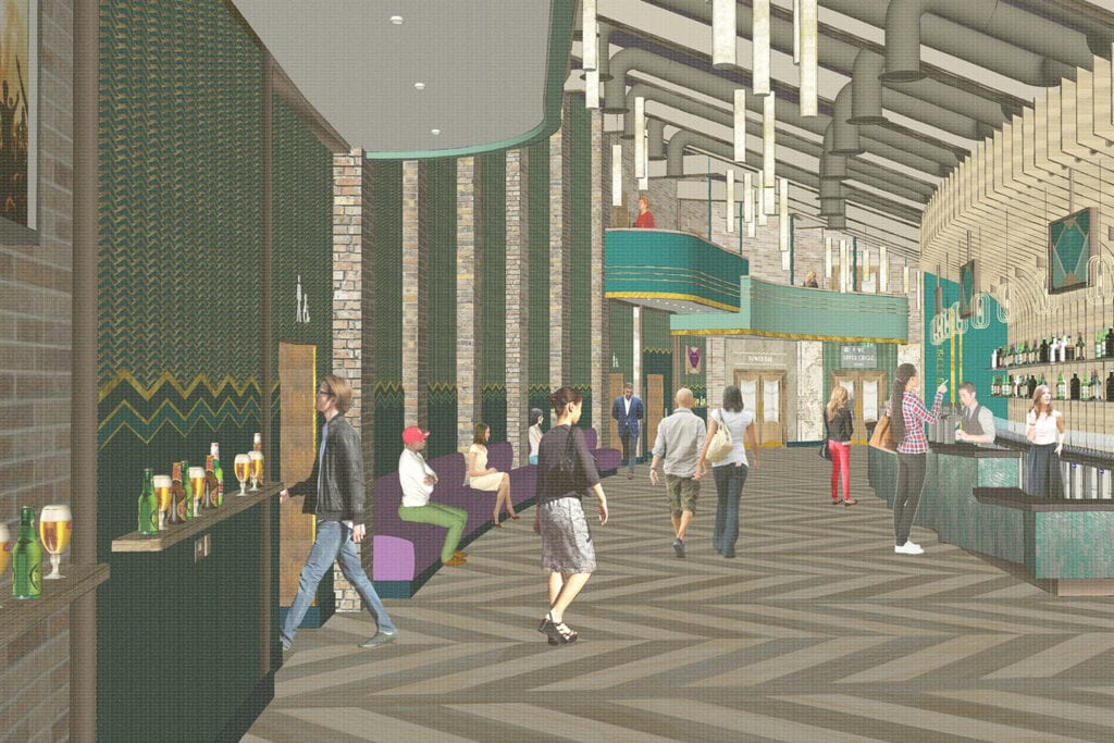 Rendering of visitors walking through the foyer of Bradford Live