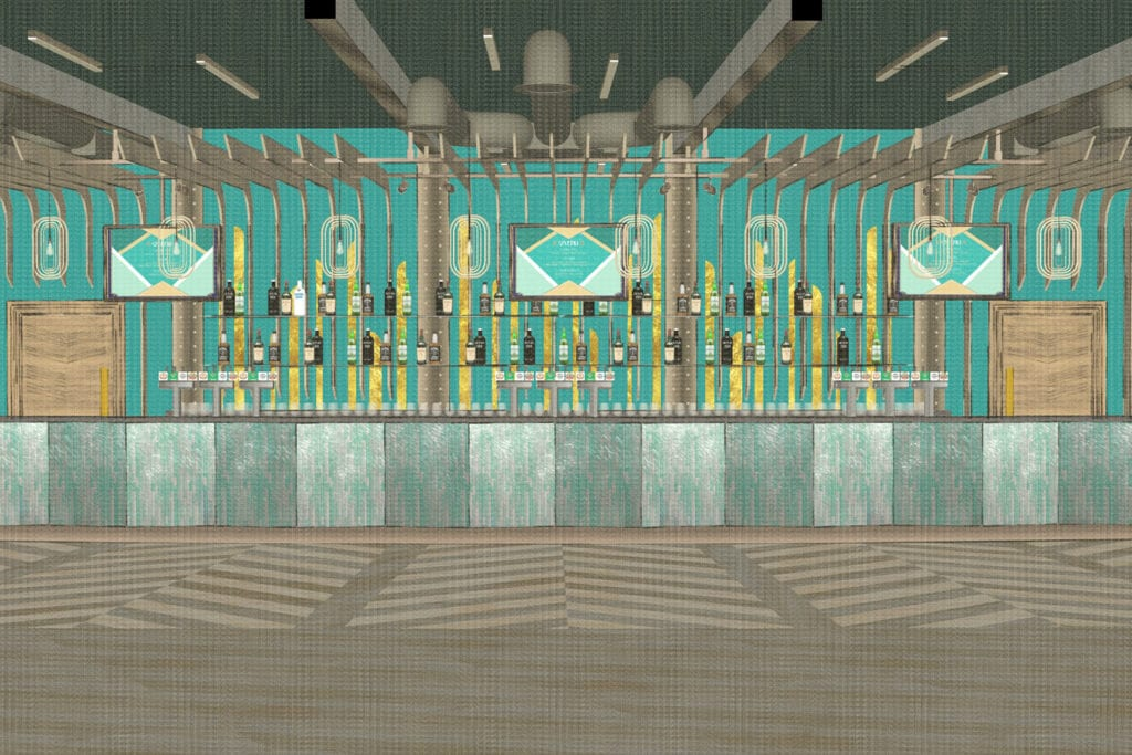 Rendering featuring the bar inside Bradford Live