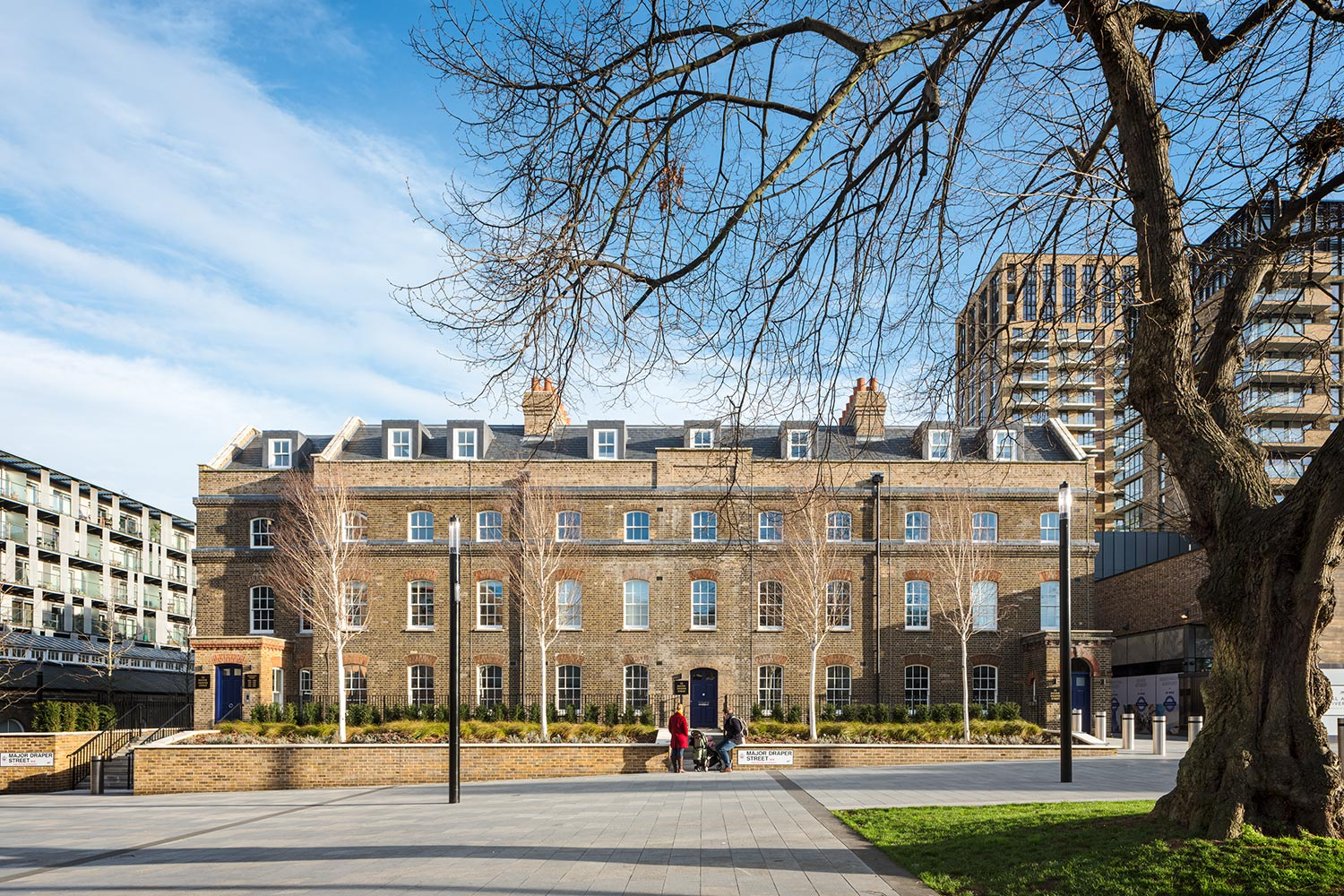View from afar of Building 11 – The Officers' House at Royal Arsenal Riverside