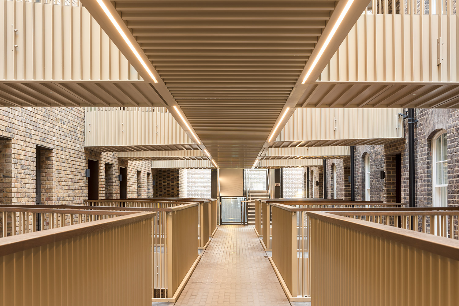 View of central walkway inside Building 11 – The Officers' House